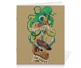 """Тетрадь на скрепке """"Осьминог"""" - old school, пират, якорь, татуировка, череп"""