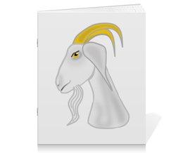 """Тетрадь на скрепке """"Голова белого козла"""" - голова, злость, изумление, белый козел, удивленный козел"""