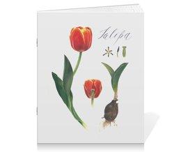 """Тетрадь на скрепке """"Тюльпан"""" - тюльпаны, акварель, watercolor flowers, ботаническая иллюстрация, цветы"""