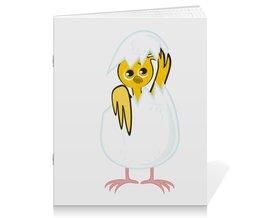 """Тетрадь на скрепке """"желтый новорожденный цыпленок"""" - животные, птицы, день рождения, иллюстрация, новая жизнь"""