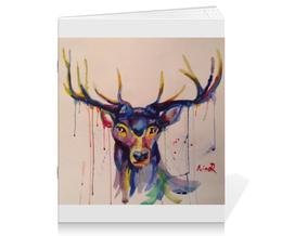 """Тетрадь на скрепке """"Олень акварель """" - арт, рисунок, абстракция, иллюстрация, художни"""
