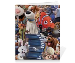 """Тетрадь на скрепке """"Мультфильмы"""" - мультфильм, pixar, тайная жизнь домашних животных, зверополис, в поисках дори"""