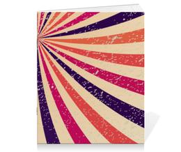 "Тетрадь на скрепке ""Винтажная радуга"" - радуга, ретро, узоры, орнамент, абстракция"