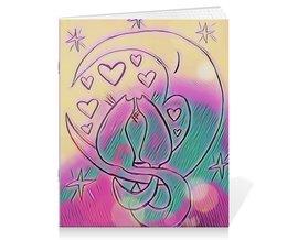"""Тетрадь на скрепке """"Влюбленные коты на луне"""" - любовь, день святого валентина, 14 февраля, подарки, день влюбленных"""