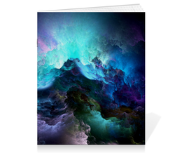 "Тетрадь на скрепке ""Abstract cloud"" - облако, cloud, северное сияние, буря"