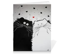 """Тетрадь на скрепке """"Кот и Кошка"""" - любовь, юмор, кот и кошка"""