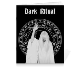 """Тетрадь на скрепке """"Ритуал"""" - черный, пентаграмма, знак, готика, иероглифы"""