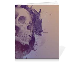 "Тетрадь на скрепке ""Splatter Skull"" - skull, череп, брызги, краска"