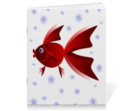 """Тетрадь на скрепке """"Золотая аквариумная рыбка"""" - арт, золотая рыбка, аквариум, детская иллюстрация, под знаком рыб"""