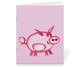 """Тетрадь на скрепке """"Розовый поросенок"""" - арт, счастье, малыш, свин, розовый поросенок"""