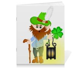 """Тетрадь на скрепке """"Лепрекон с фонарем и волшебный клевер"""" - клевер, фонарь, день святого патрика, карлик, четырехлистник"""