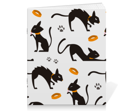 """Тетрадь на скрепке """"Чёрные кошки"""" - кот, кошка, животные, коты, котёнок"""