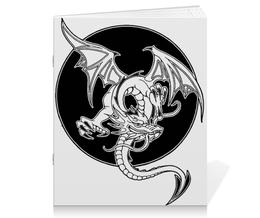 """Тетрадь на скрепке """"Дракон"""" - дракон, графика, рисунок, фэнтэзи"""