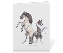 """Тетрадь на скрепке """"Якутская лошадь/Якутская лайка"""" - лошадь, собака, пони, лайка"""