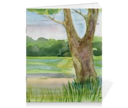 """Тетрадь на скрепке """"Тетрадь """"Пейзаж"""" из серии """"Акварель 2015"""""""" - пейзаж, дерево, акварель, живопись, поле"""