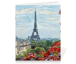 """Тетрадь на скрепке """"Эйфелева башня"""" - графика, франция, париж, эйфелева башня"""
