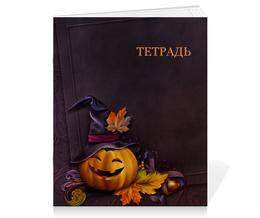"Тетрадь на скрепке ""Хэллоуин"" - хэллоуин, тыква"