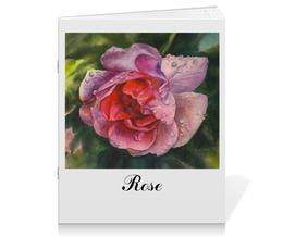"""Тетрадь на скрепке """"После дождя"""" - лето, цветы, красный, роза, капли"""