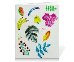 """Тетрадь на скрепке """"Фрукты"""" - лето, цветы, фрукты, листья, ягоды"""