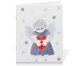 """Тетрадь на скрепке """"Маленький сердечный ангел"""" - любовь, ангел, день святого валентина, малыш, день влюбленных"""