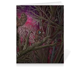 "Тетрадь на скрепке ""Forest"" - лес, сова, owl, forest"