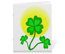 """Тетрадь на скрепке """"День святого Патрика - волшебный четырехлистник"""" - паттерн, лист клевера, день святого патрика, четырехлистник"""