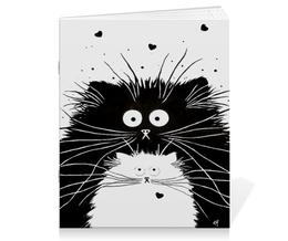 """Тетрадь на скрепке """"Кот и Кошка"""" - кот, кошка, рисунок, чёрное и белое"""
