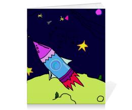 """Тетрадь на скрепке """"ракета в космосе"""" - звезда, рисунок, космос, дети, раскраска"""