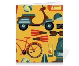 """Тетрадь на скрепке """"Летняя"""" - спортивный, рисунок, летний, отдых, велосипед"""