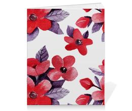 """Тетрадь на скрепке """"Вишнёвая"""" - цветы, вишня, акварель"""