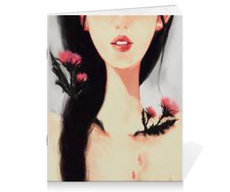 """Тетрадь на скрепке """"Чертополох"""" - арт, девушка, цветы, стиль, рисунок"""