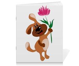 """Тетрадь на скрепке """"Пес держит в лапе цветочек"""" - праздник, цветок, 8 марта, пес, подарок"""
