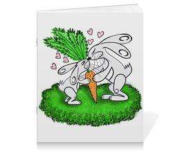 """Тетрадь на скрепке """"Зайчишки с морковкой"""" - любовь, подарок, морковка, влюбленность, зайчишки"""