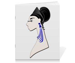 """Тетрадь на скрепке """"Девушка в синих сережках"""" - очки, брюнетка, перья, красивая женщина, синие длинные серьги"""