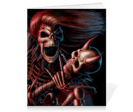 """Тетрадь на скрепке """"Смерть с гитарой"""" - череп, готика, гитара, смерть, металл"""