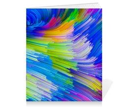 "Тетрадь на скрепке ""Abstract Rainbow"" - радуга, цвета, краски, абстракция"