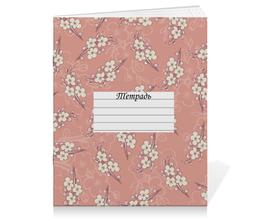 """Тетрадь на скрепке """"Цветочный принт"""" - цветы, вишня, ветка, фон, грязно-розовый"""