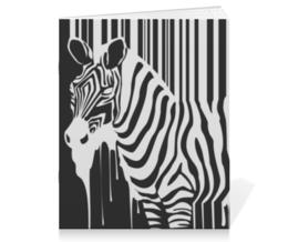 """Тетрадь на скрепке """"Зебра"""" - арт, зебра, штри-код, zebra, barcode"""