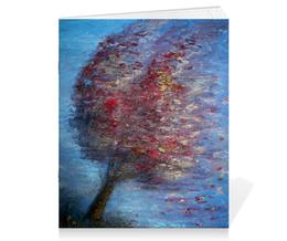 "Тетрадь на скрепке ""Ветер"" - осень, дерево, живопись, ветер, wax"