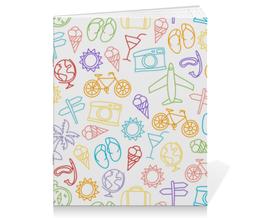 """Тетрадь на скрепке """"Туристическая"""" - велосипед, фотоаппарат, мороженое, самолёт, глобус"""