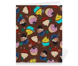 """Тетрадь на скрепке """"Капкейки в шоколаде"""" - еда, вкусно, кексы, капкейки, сладко"""