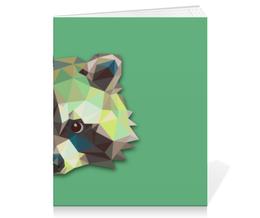 "Тетрадь на скрепке ""Енот "" - абстракция, енот, raccoon"