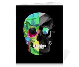 """Тетрадь на скрепке """"Digital skull"""" - skull, череп, digital art"""