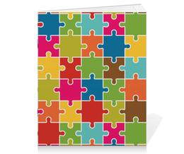 "Тетрадь на скрепке ""Puzzle"" - арт, style, стиль, дизайн, графика"