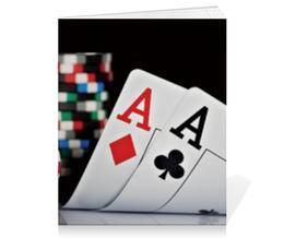 """Тетрадь на скрепке """"Карманные тузы"""" - карты, пара, покер, туз, фишки"""