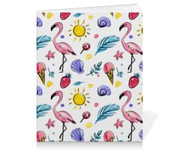 """Тетрадь на скрепке """"Фламинго"""" - солнце, птица, перо, ракушка, фламинго"""