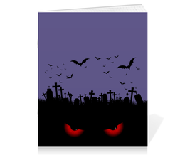 """Тетрадь на скрепке """"Взгляд оттуда"""" - хэллоуин, рисунок, взгляд, летучие мыши, кладбище"""