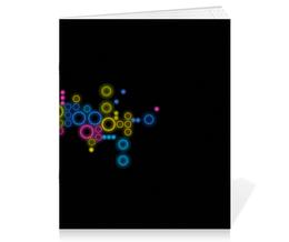 """Тетрадь на скрепке """"Психоделика 2"""" - пузырьки, цвет, абстракция, чёрный фон"""