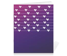"Тетрадь на скрепке ""related hearts"" - сердце, арт, фиолетовый, розовый"