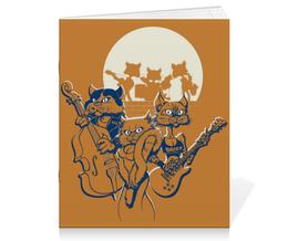 """Тетрадь на скрепке """"Кошачий концерт"""" - музыка, группа, кошки, концерты, джаз"""